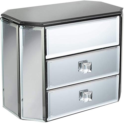 American Atelier 3 Drawer Mirror Jewelry Box - for Vanity, Bathroom, or Dresser - Silver Finish with Jewels Makes Perfect Anniversary, Birthday, Graduation, or Housewarming Gift, 8.8x4.7x7.2, Smoke