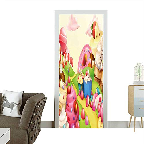 Homesonne 3D Door Decals Food Theme Sweet Landscape of Candies Cupcakes Lollipop and Ice Cream Print Multicolor Self Adhesive Door DecalW36 x H79 INCH