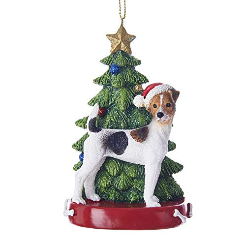 Kurt Adler Jack Russell Terrier With Christmas Tree Ornament
