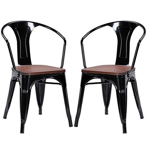 (Tolix Style Armchair Stackable Bistro Metal Wood Stool Furniture Black Set of 2)