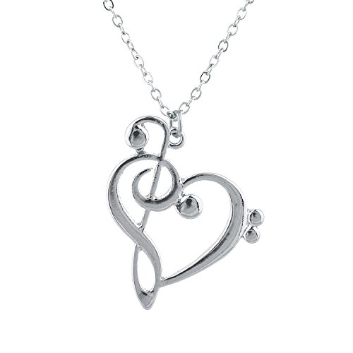 Price comparison product image Lux Accessories Silver Tone Music Note Clef Heart Novelty Pendant Necklace
