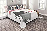 Lunarable Animals Bedspread Set King Size, Cat and Dog Enemy Love Story Bonds Passion Affection Animals, Decorative Quilted 3 Piece Coverlet Set with 2 Pillow Shams, Charcoal Grey Umber Dark Coral