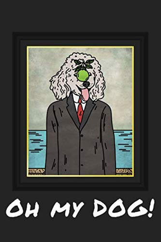 Oh My Dog!: Poodle In A Suit With A Green Apple On It Face Framed Print Matte Finish Gift Journal 6x9in 120 Pages Standard Lined Black and White Paper ()