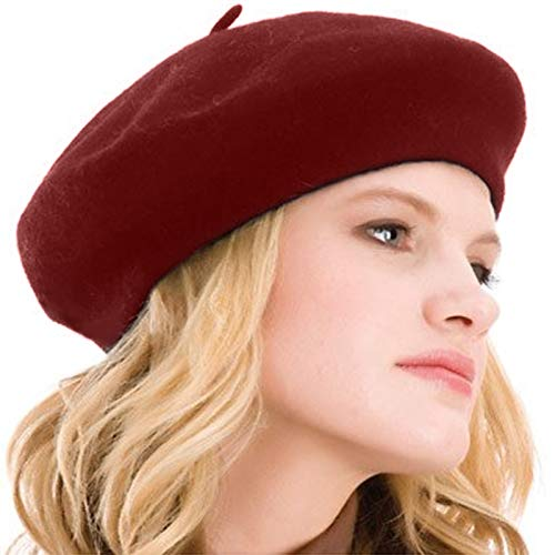 Kimming Womens Beret 100% Wool French Beret Solid Color Beanie Cap Hat Beet Red