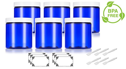 Cobalt Blue 8 oz / 250 ml PET (BPA Free) Plastic Jar with White Lid (6 pack) + Spatulas and Labels