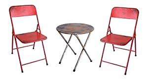 NACH plegable Bistro–Juego de sillas y mesa, rosso