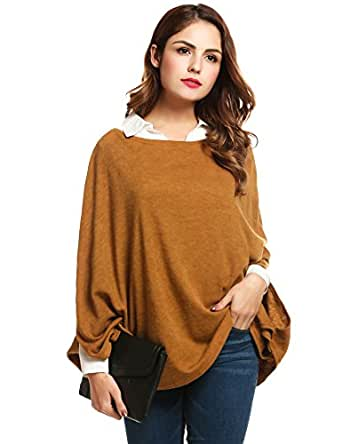 Zeagoo Women`s Casual Cloak Sweater Knit Sweater Cape Pullover Round Neck Loose Blouse Tops