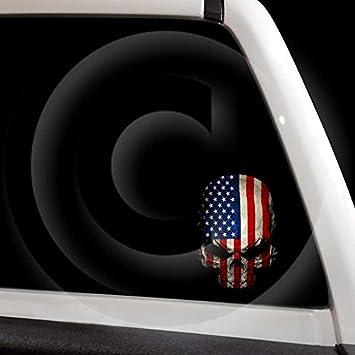 Amazoncom American Flag Skull Decal USA Military Sticker Automotive - Motorcycle helmet decals militarysubdued american flag sticker military tactical usa helmet decal