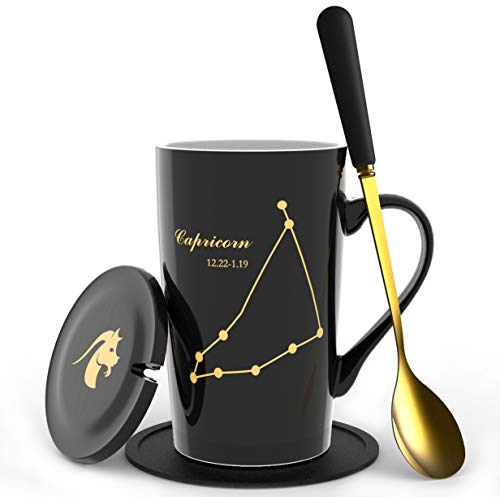 【New Upgrade】Fullcci-15oz porcelain creative black constellation mug+lid+gold spoon+coaster for water coffee tea milk juice etc.(Capricorn)