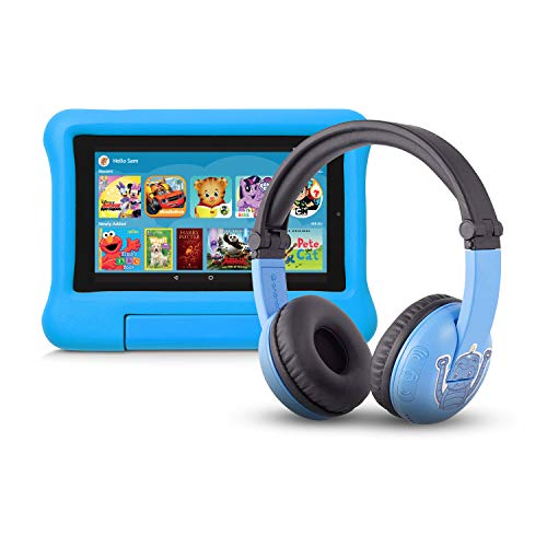 Fire 7 Kids Edition Tablet   7″ Display, 16 GB, Blue Kid-Proof Case + Made for Amazon Bluetooth BuddyPhones, PlayTime in Blue – Ages (3-7)
