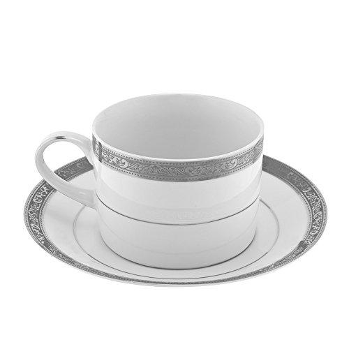 10 Strawberry Street PAR-9P6 Paradise Platinum Can Cup/Saucer, Set of 6, White/Silver