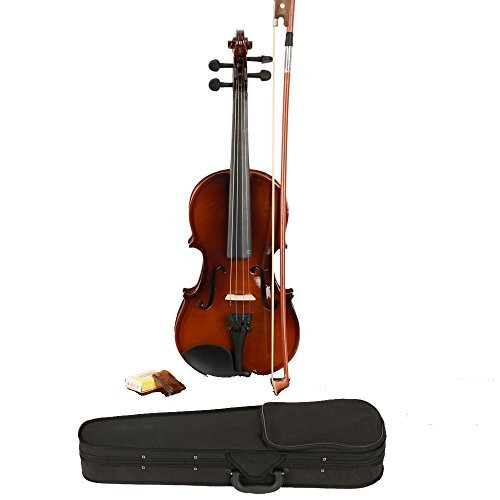 OlymStore ® 1/4 Size Ebony Acoustic Violin with Case ,Bow, Rosin Natural for Kids by Z ZTDM