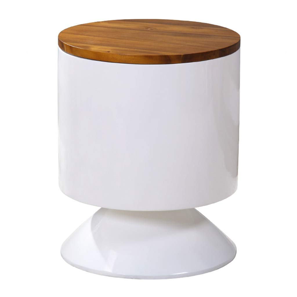 LQQGXLBedside Table Round Table Living Room Bedroom Side Table Solid Wood Table Small Side Table (Color : White A) by LQQGXL