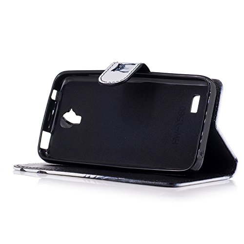Funda Huawei Y560,Ecoway Pintado Cuero de la PU Leather Cubierta, Función de Soporte Billetera con Tapa para Tarjetas Soporte para Teléfono - Madera azul búho