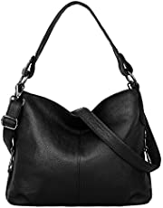 YALUXE Women's Genuine Leather Totes Shoulder Bag Travel Handbag Top Handle Bags with Removable Shoulder Strap