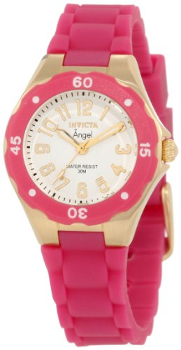 Invicta Women's 1619 Angel White Dial Plum Silicone Watch