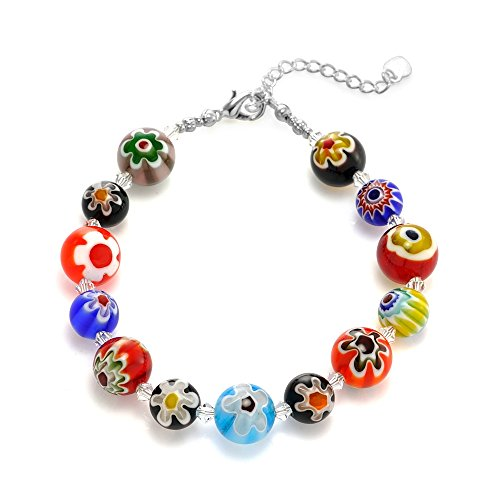 Venetian Murano Glass Sphere Multi-Colored Millefiori Flower Bracelet Italian Glass Bead