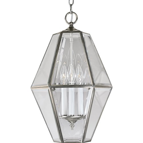 Elegant Bound Glass Lighting - Progress Lighting P3716-09 6-Sided Foyer Fixture with Clear Bound Beveled Glass, Brushed Nickel