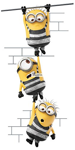 16 Inch Minions Despicable Me 3 Wall Decal Sticker Minion Removable Peel Self Stick Adhesive Vinyl Decorative Art Kids Room Home Decor Children 8 1/2 by 16 1/2 Inch -