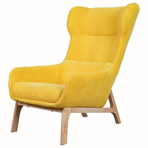 Upholstery Fabric Wingback Armchair Living Room Accent Chair with Wooden-Frame Leg (Yellow)