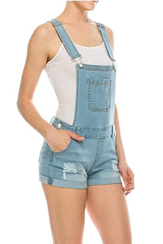 Wax Women's Juniors Cute Denim Overall Shorts (Medium, Light Denim)