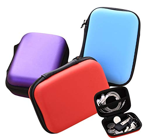 Earphone Carrying Case, Miniko(TM) [3 Pack] Portable Storage Hard Case Bag Holder Pouch for SD TF Card Earphone Headphone Earbuds iPod Bluetooth Headset and Charging Cable