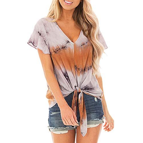 Womens Clothing Cj Banks - WomensV-Neck Short Sleeve ❤ Fashion Gradual Change Printing Easy Casual Blouse Tops ATRISE Orange