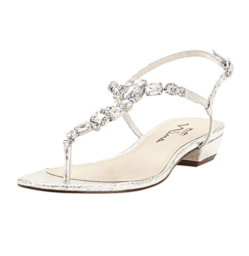 Metallic T-strap Sandals - 5