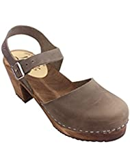 Lotta From Stockholm Swedish Clogs Highwood In Taupe Oiled Nubuck With Brown Sole