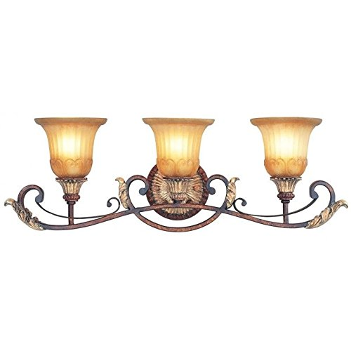 Beaumont Lane 3 Light Bath Light in Verona Bronze and Aged Gold Leaf - Verona 3 Light Vanity