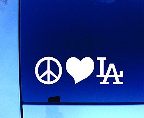"""Peace Love LA Sticker Decal 7"""" White"""