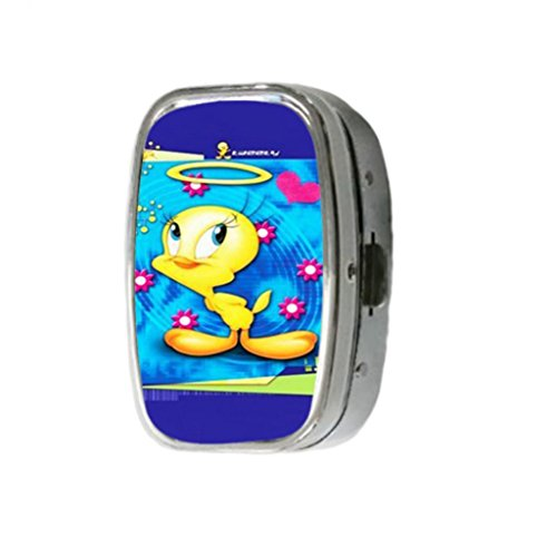 Cartoon Tweety Bird Custom Unique Stainless Steel Pill Box Medicine Tablet Holder Decorative Metal Organizer Dispenser ()