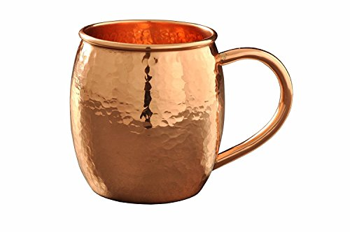Moscow Mule Copper Mug Hammered (16 Oz - 100% Pure Solid Copper)best for Cocktail