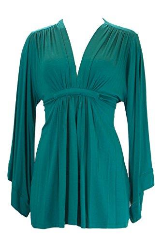 Analili Women's Kimono Sleeve Plunged Neck Top 438K10 Sz Small - Sleeve Kimono Waist Top Empire