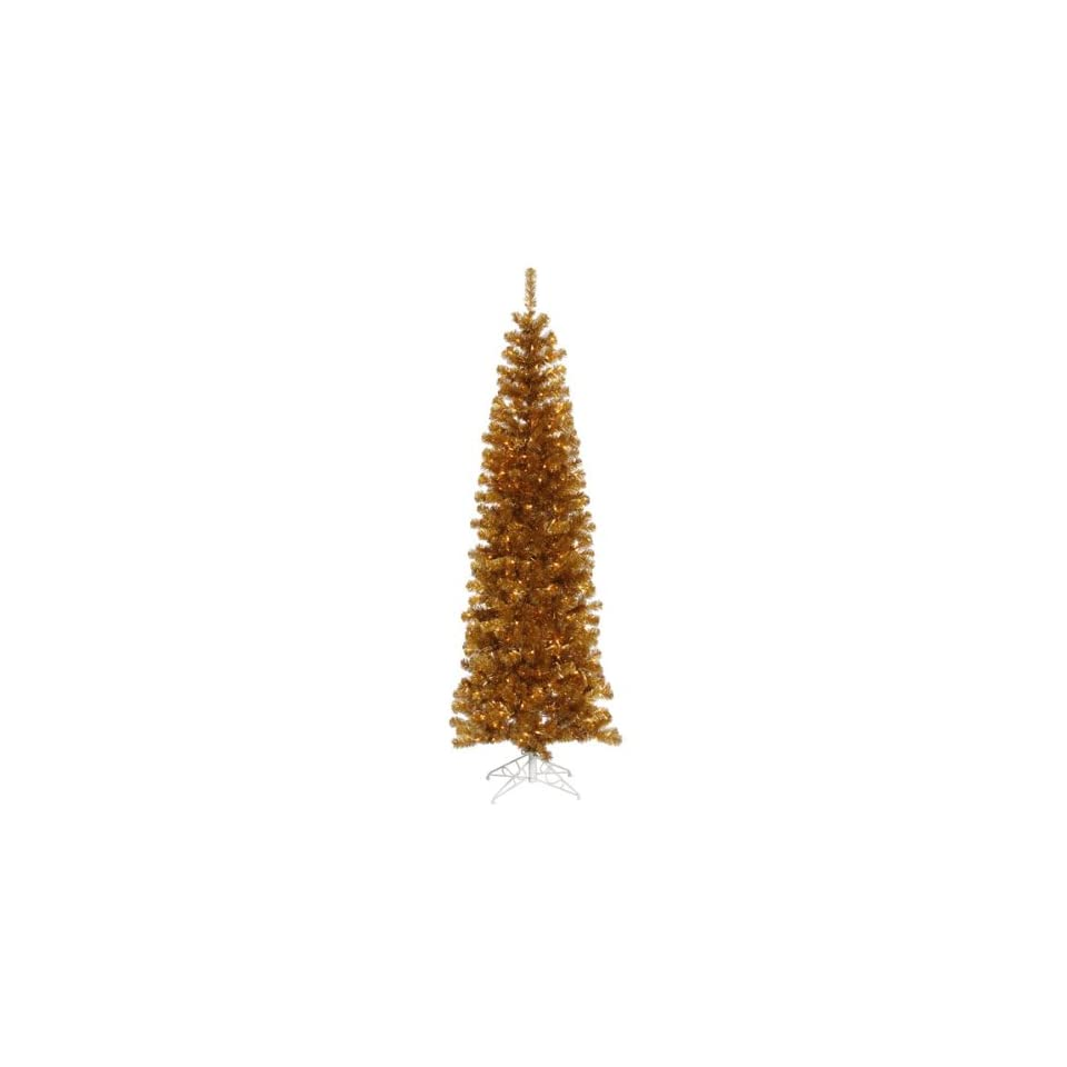 6.5 Pre Lit Antique Gold Tinsel Pencil Artificial Christmas Tree   Clear Lights