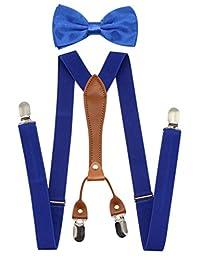 JAIFEI Suspenders & Bowtie Set- Men's Elastic X Band Suspenders + Bowtie For Wedding, Formal Events (Royal Blue)