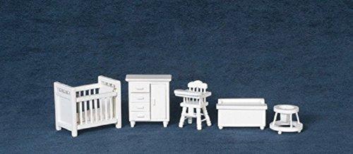 Casa delle bambole in miniatura in scala 1 24, colore  bianco-s Room Furniture Nursery Set