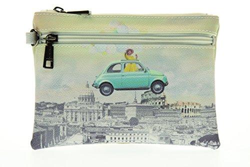 Y NOT? la mujer del bolso de embrague con manguito H-342 DE LA PIEL Bianco-Verde