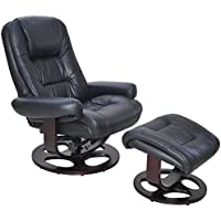 Barcalounger Jacque II Leather Recliner & Ottoman - black