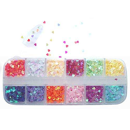 (12Grids Chunky Hexagon Nail Glitter Flakes Mix Star Heart Round Sequins Pigment (Model - 1) )