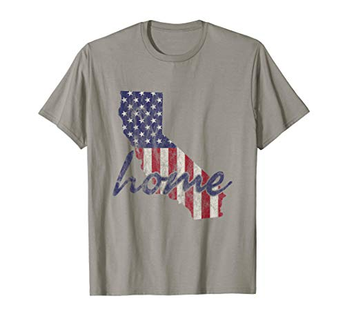 California Home State American Flag Outline Distressed Look T-Shirt