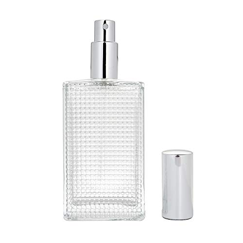 BEAUYK 100 ml (3.4 oz) Large Clear Thick Glass Empty Bottle, Gold/Silver Spray Perfume Bottle Atomizer Bottle Makeup Tool for Holiday Gift (Silver)