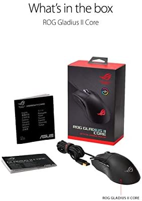 ASUS Optical Gaming Mouse – ROG Gladius II Core | Ergonomic Right-Hand Grip | Lightweight PC Gaming Mouse | 6200 DPI Optical Sensor | Omron Switches | 6 Buttons | Aura Sync RGB Lighting 41xii9anQnL