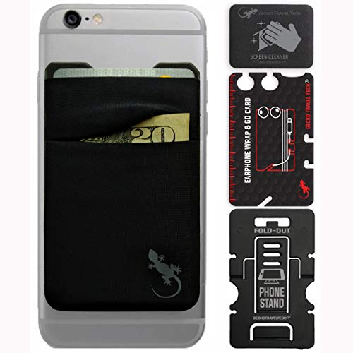 Mobile Phone Double Pocket Wallet stick on with stand – Phone Wallet iphone – cellphone accessories case – phone card holder with stick on – credit card holder for cell phone (BLACK-GRAY)