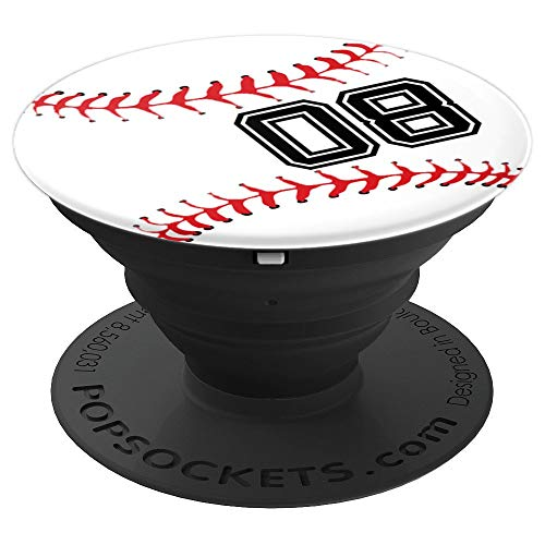 Baseball Player 08 Jersey No #08 Pit Ball Sports Fan Gift - PopSockets Grip and Stand for Phones and ()