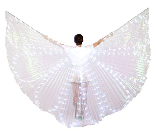 Dance Fairy Costumes (Dance Fairy Belly Dance LED Colorful Angel Isis Wings with Telescopic Sticks(White))