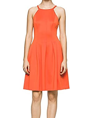 Ember Women's Pleated Scuba Dress Orange 12
