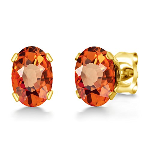 Gem Stone King 1.10 Ct Oval 6x4mm Orange Sapphire 18K Yellow Gold Plated Silver Stud Earrings