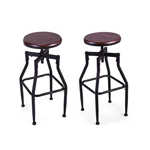 l Adjustable Pair of Bar Stool 360° Swivel Metal Solid Wood Seat Top Height Breakfast Home ()