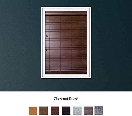 Luxr Blinds Custom Made Premium Faux Wood Horizontal Blinds W Easy Inside Mount Outside Mount Wood Blind – Size 27X36 Inch Wooden Color Chestnut Roast